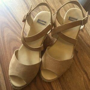 Bata suede wedge sandals, EUC